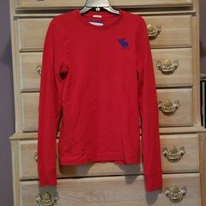Abercrombie & Fitch Red Long Sleeved Tshirt